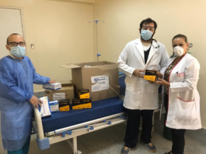 healthcare workers accepting PPE
